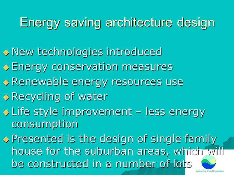 Energy saving architecture design New technologies introduced New technologies introduced Energy conservation measures Energy conservation measures Re