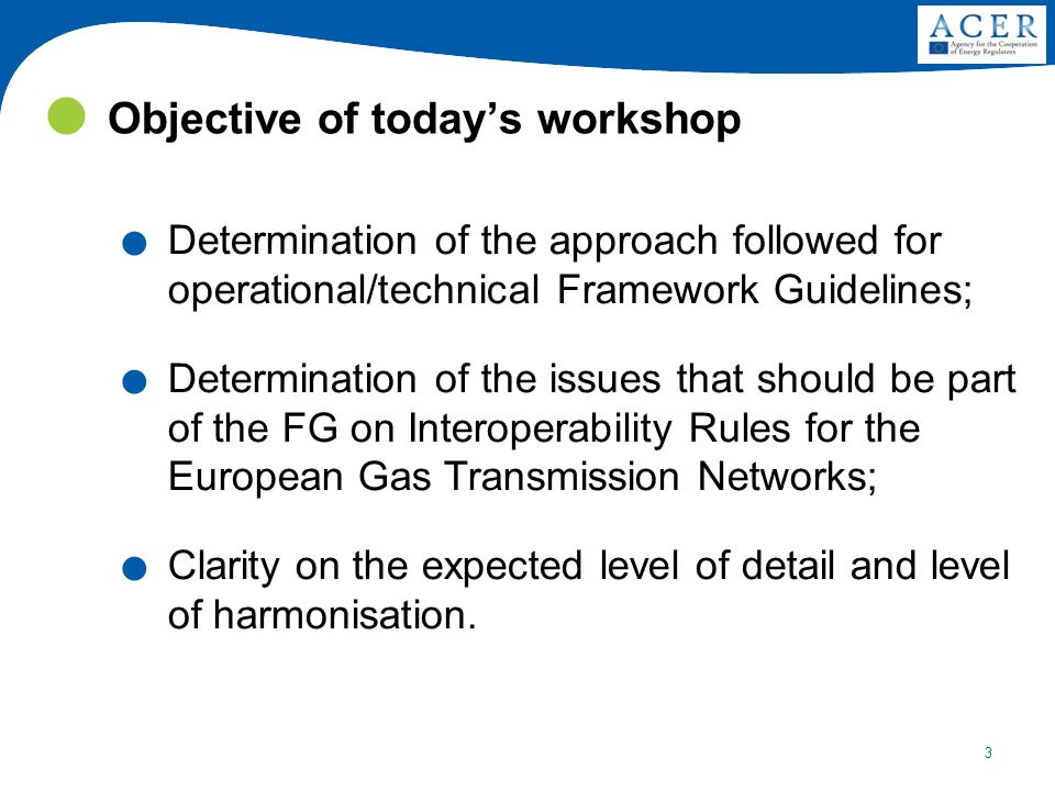 3 Objective of todays workshop. Determination of the approach followed for operational/technical Framework Guidelines;. Determination of the issues th