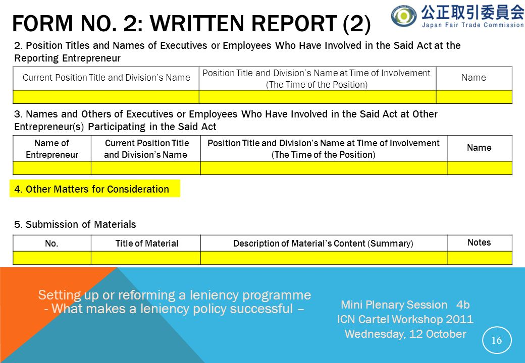 FORM NO. 2: WRITTEN REPORT (2) 16 Setting up or reforming a leniency programme - What makes a leniency policy successful – Mini Plenary Session 4b ICN