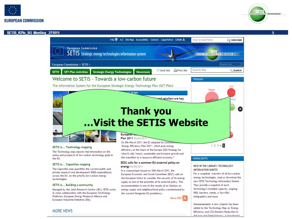 5 SETIS_KPIs_SG Meeting _271011 5 Thank you …Visit the SETIS Website