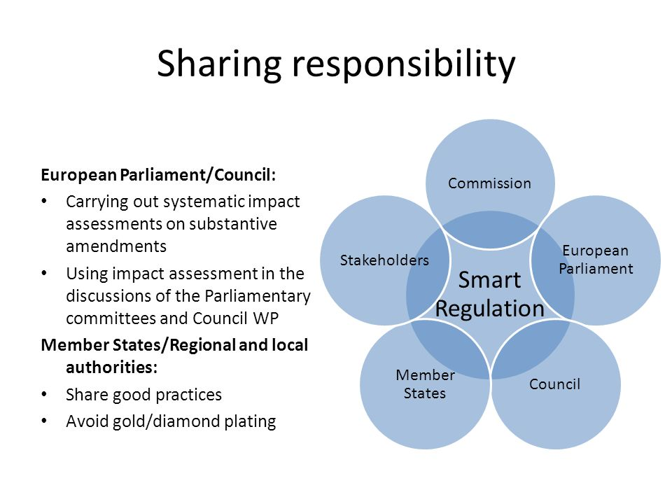 Sharing responsibility Smart Regulation Commission European Parliament Council Member States Stakeholders European Parliament/Council: Carrying out sy