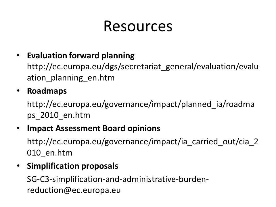 Resources Evaluation forward planning http://ec.europa.eu/dgs/secretariat_general/evaluation/evalu ation_planning_en.htm Roadmaps http://ec.europa.eu/