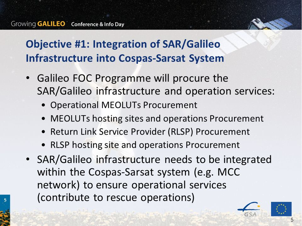 5 5 Objective #1: Integration of SAR/Galileo Infrastructure into Cospas-Sarsat System Galileo FOC Programme will procure the SAR/Galileo infrastructure and operation services: Operational MEOLUTs Procurement MEOLUTs hosting sites and operations Procurement Return Link Service Provider (RLSP) Procurement RLSP hosting site and operations Procurement SAR/Galileo infrastructure needs to be integrated within the Cospas-Sarsat system (e.g.