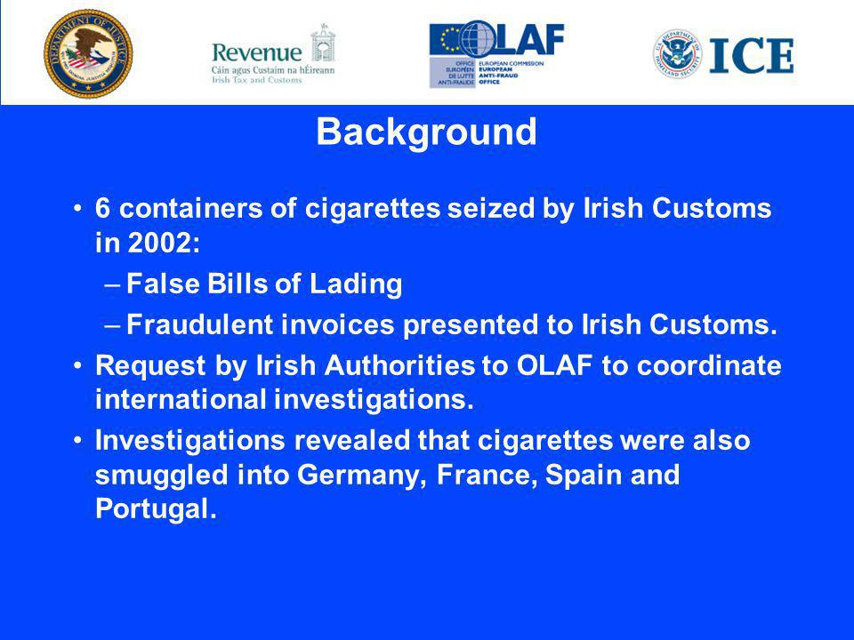 Background 6 containers of cigarettes seized by Irish Customs in 2002: –False Bills of Lading –Fraudulent invoices presented to Irish Customs.