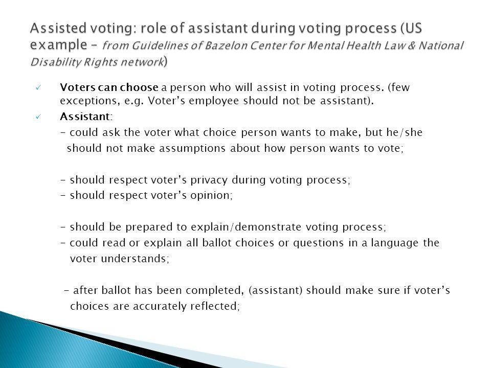 Voters can choose a person who will assist in voting process.