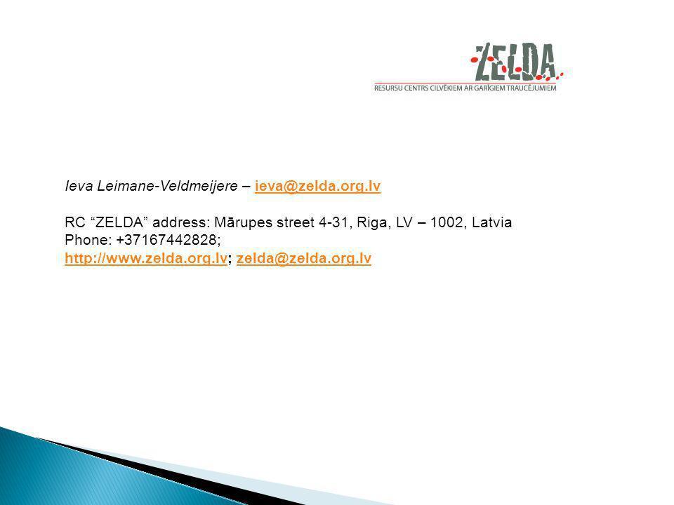 Ieva Leimane-Veldmeijere – ieva@zelda.org.lvieva@zelda.org.lv RC ZELDA address: Mārupes street 4-31, Riga, LV – 1002, Latvia Phone: +37167442828; http://www.zelda.org.lvhttp://www.zelda.org.lv; zelda@zelda.org.lvzelda@zelda.org.lv