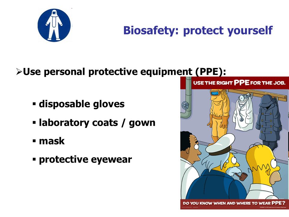 17 Biosafety: protect yourself Use personal protective equipment (PPE): disposable gloves laboratory coats / gown mask protective eyewear
