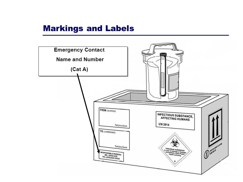 Markings and Labels Emergency Contact Name and Number (Cat A)