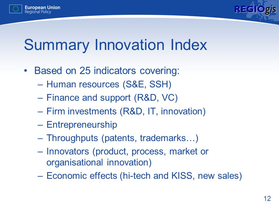 12 REGIO gis Summary Innovation Index Based on 25 indicators covering: –Human resources (S&E, SSH) –Finance and support (R&D, VC) –Firm investments (R