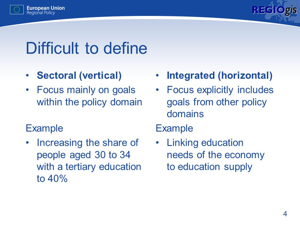 4 REGIO gis Difficult to define Sectoral (vertical) Focus mainly on goals within the policy domain Example Increasing the share of people aged 30 to 3