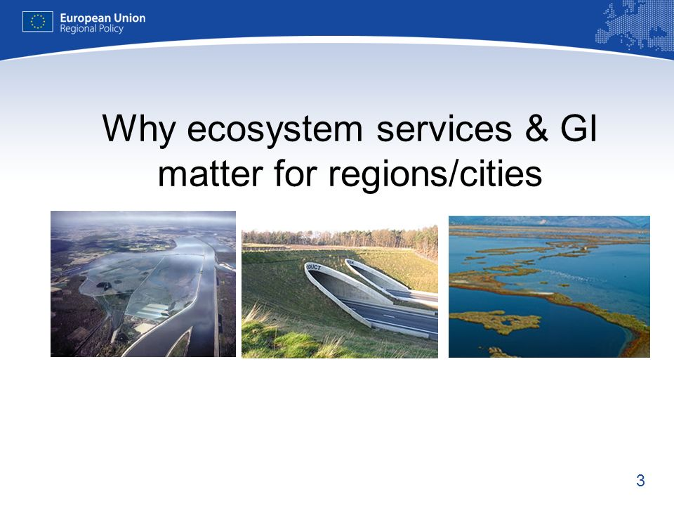 3 Why ecosystem services & GI matter for regions/cities