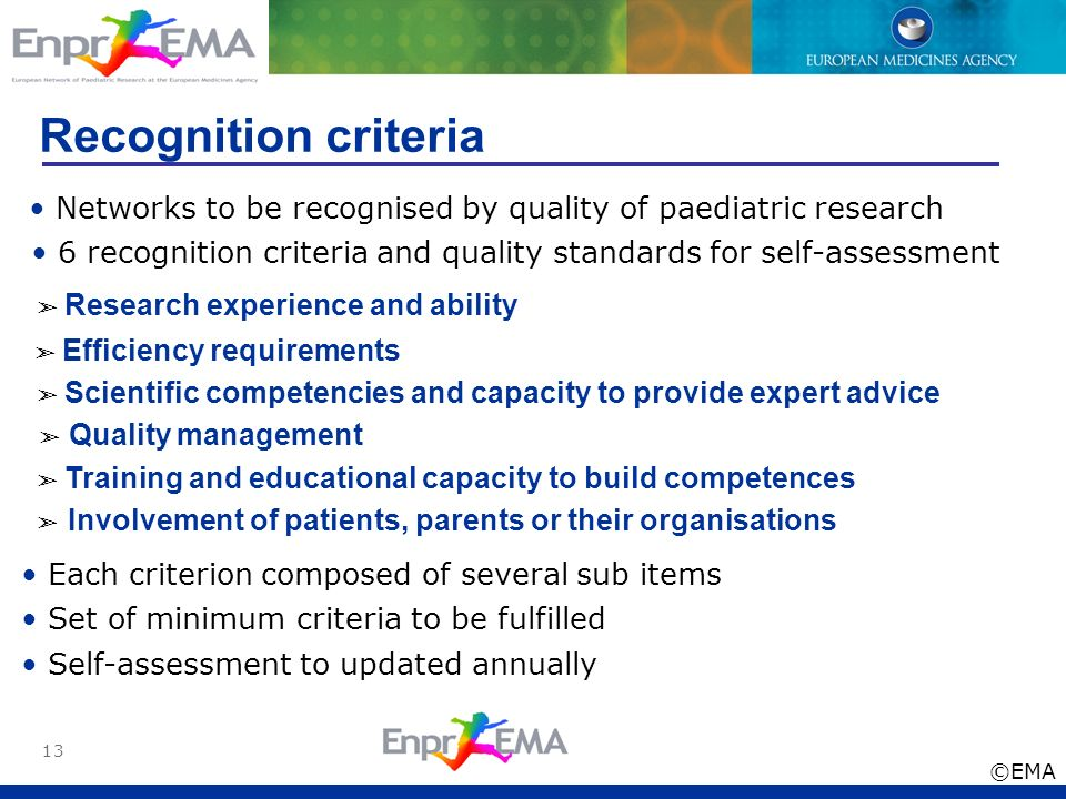 13 Recognition criteria Networks to be recognised by quality of paediatric research 6 recognition criteria and quality standards for self-assessment R