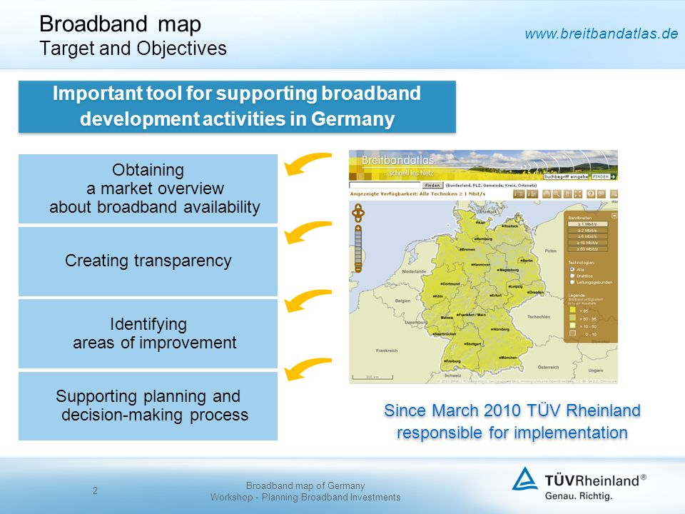 www.breitbandatlas.de Broadband map Target and Objectives 2 Obtaining a market overview about broadband availability Identifying areas of improvement Creating transparency Supporting planning and decision-making process Since March 2010 TÜV Rheinland responsible for implementation Important tool for supporting broadband development activities in Germany Broadband map of Germany Workshop - Planning Broadband Investments