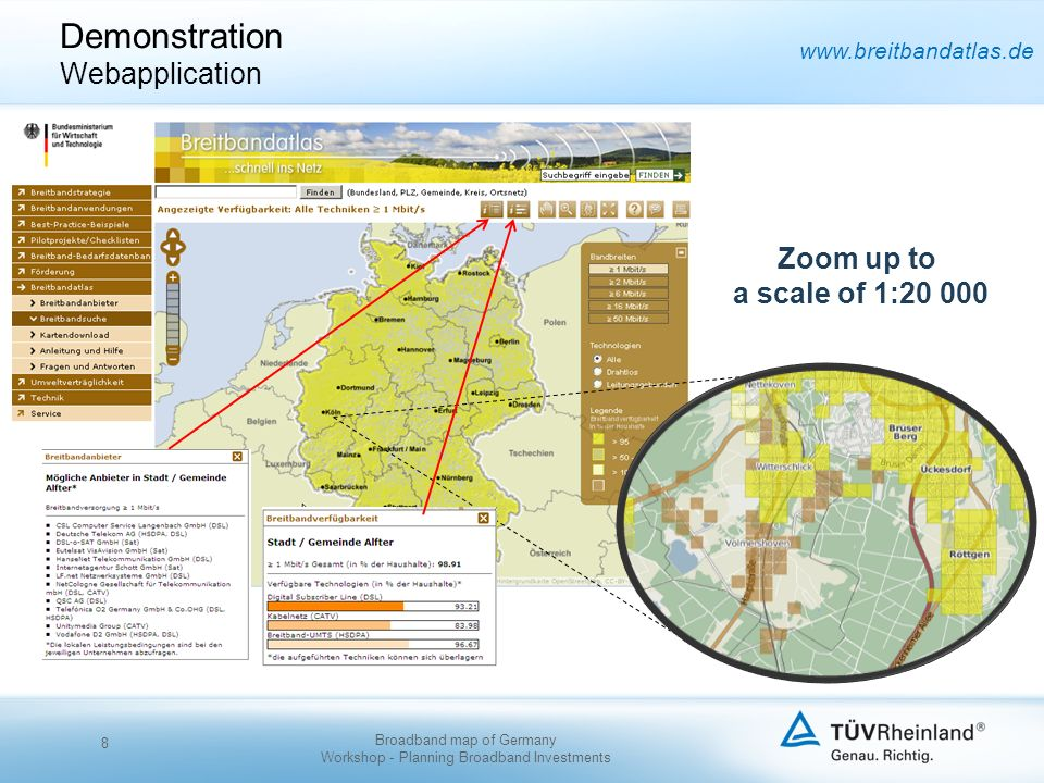 www.breitbandatlas.de Zoom up to a scale of 1:20 000 Demonstration Webapplication 8 Broadband map of Germany Workshop - Planning Broadband Investments