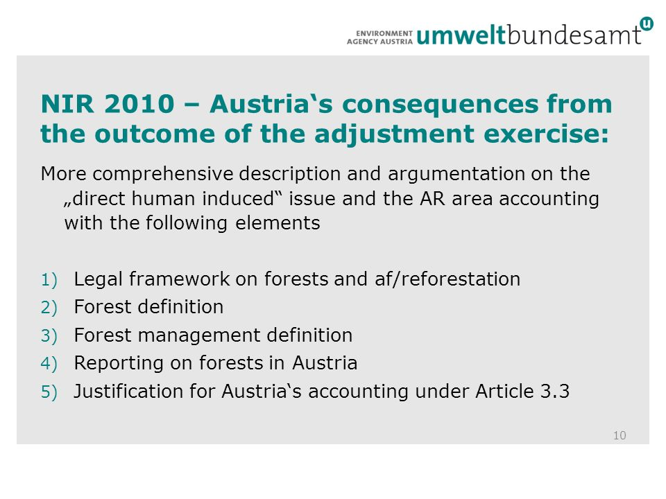 NIR 2010 – Austrias consequences from the outcome of the adjustment exercise: 10 More comprehensive description and argumentation on the direct human