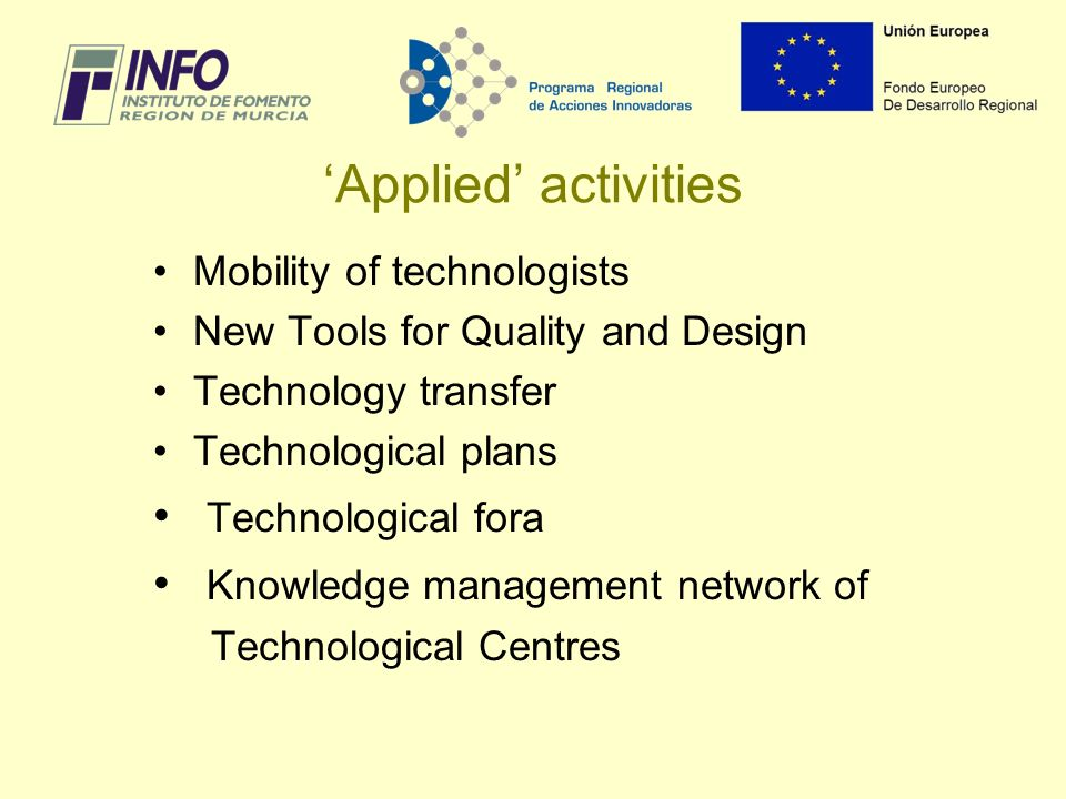 Applied activities Mobility of technologists New Tools for Quality and Design Technology transfer Technological plans Technological fora Knowledge management network of Technological Centres