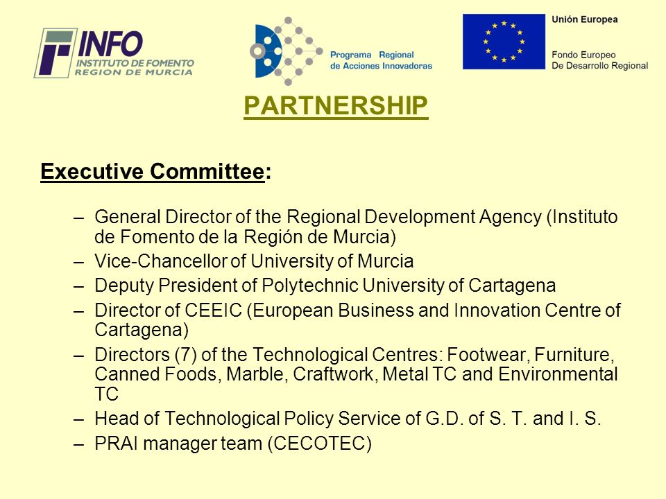 PARTNERSHIP Executive Committee: –General Director of the Regional Development Agency (Instituto de Fomento de la Región de Murcia) –Vice-Chancellor of University of Murcia –Deputy President of Polytechnic University of Cartagena –Director of CEEIC (European Business and Innovation Centre of Cartagena) –Directors (7) of the Technological Centres: Footwear, Furniture, Canned Foods, Marble, Craftwork, Metal TC and Environmental TC –Head of Technological Policy Service of G.D.