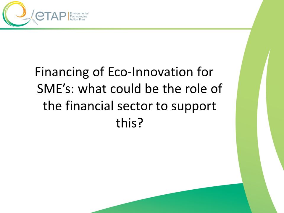 Financing of Eco-Innovation for SMEs: what could be the role of the financial sector to support this?