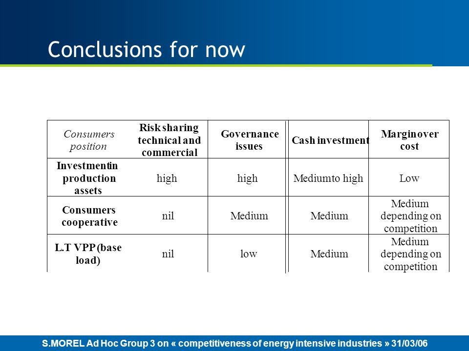 S.MOREL Ad Hoc Group 3 on « competitiveness of energy intensive industries » 31/03/06 Conclusions for now Consumers position Risksharing technical and commercial Governance issues Cashinvestment Marginover cost Investmentin production assets high Mediumto high Low Consumers cooperative nil Medium M M depending on competition L.T VPP(base load) nil low Medium M depending on competition