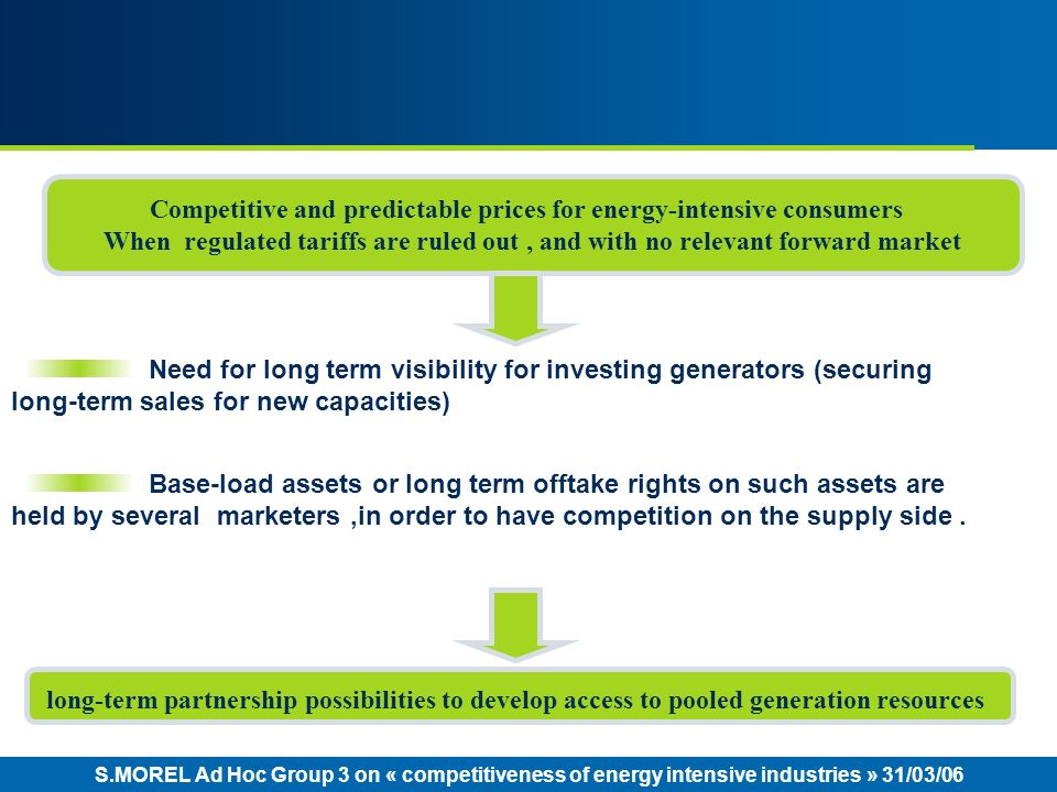 S.MOREL Ad Hoc Group 3 on « competitiveness of energy intensive industries » 31/03/06 Need for long term visibility for investing generators (securing long-term sales for new capacities) Base-load assets or long term offtake rights on such assets are held by several marketers,in order to have competition on the supply side.