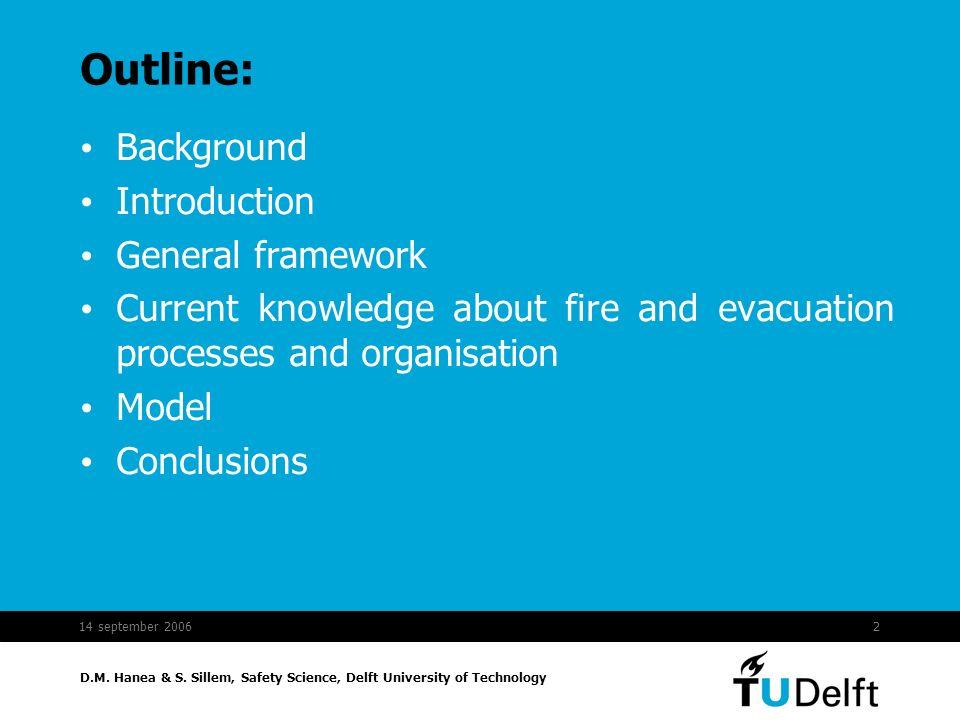 D.M. Hanea & S. Sillem, Safety Science, Delft University of Technology 14 september 20062 Outline: Background Introduction General framework Current k