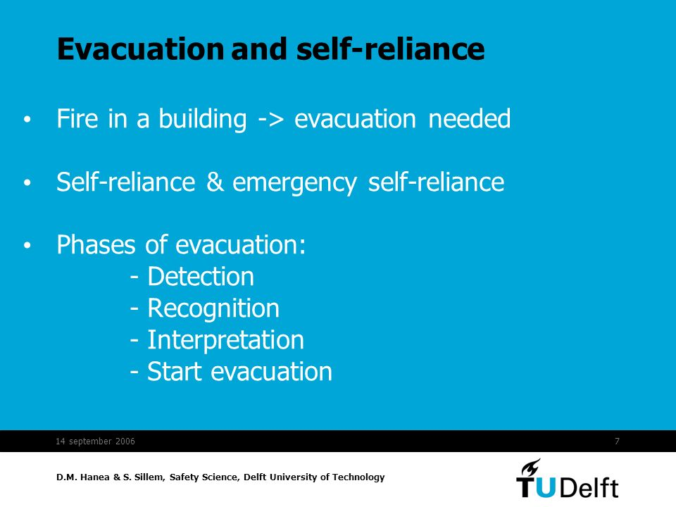 D.M. Hanea & S. Sillem, Safety Science, Delft University of Technology 14 september 20067 Evacuation and self-reliance Fire in a building -> evacuatio