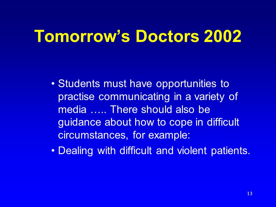 13 Tomorrows Doctors 2002 Students must have opportunities to practise communicating in a variety of media ….. There should also be guidance about how