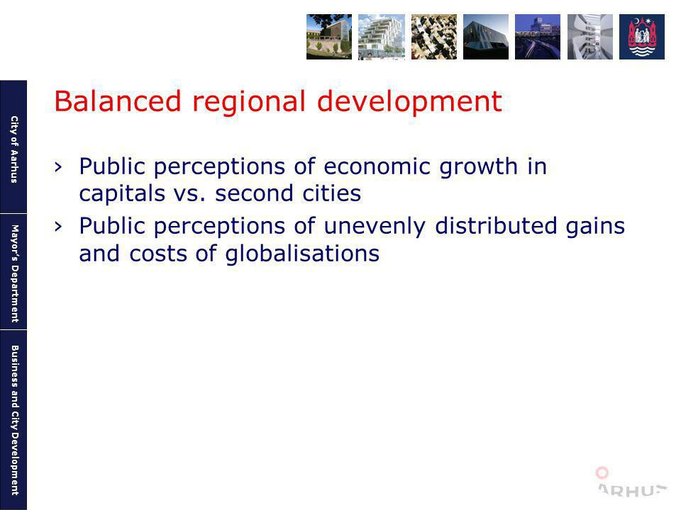 City of Aarhus Mayors Department Business and City Development Balanced regional development Public perceptions of economic growth in capitals vs. sec