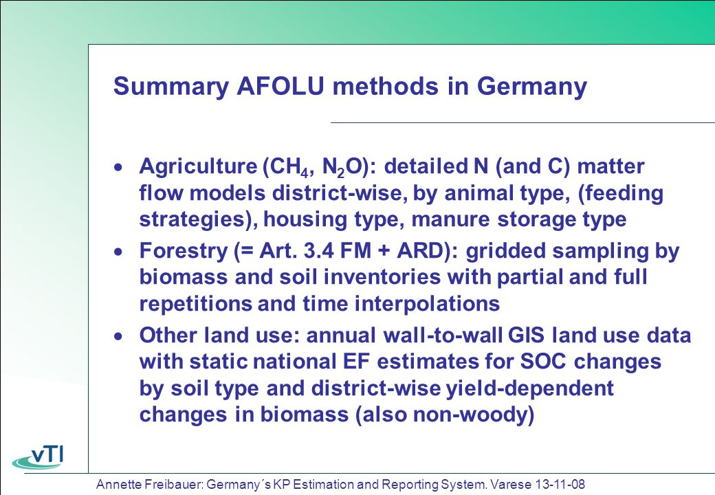Annette Freibauer: Germany´s KP Estimation and Reporting System.