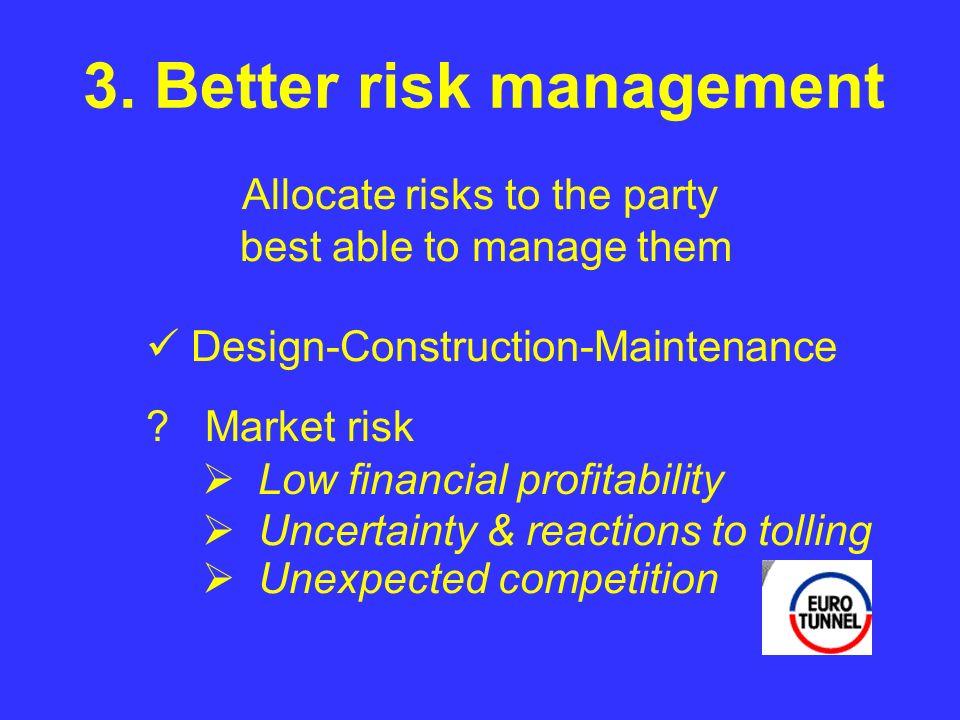 3. Better risk management .