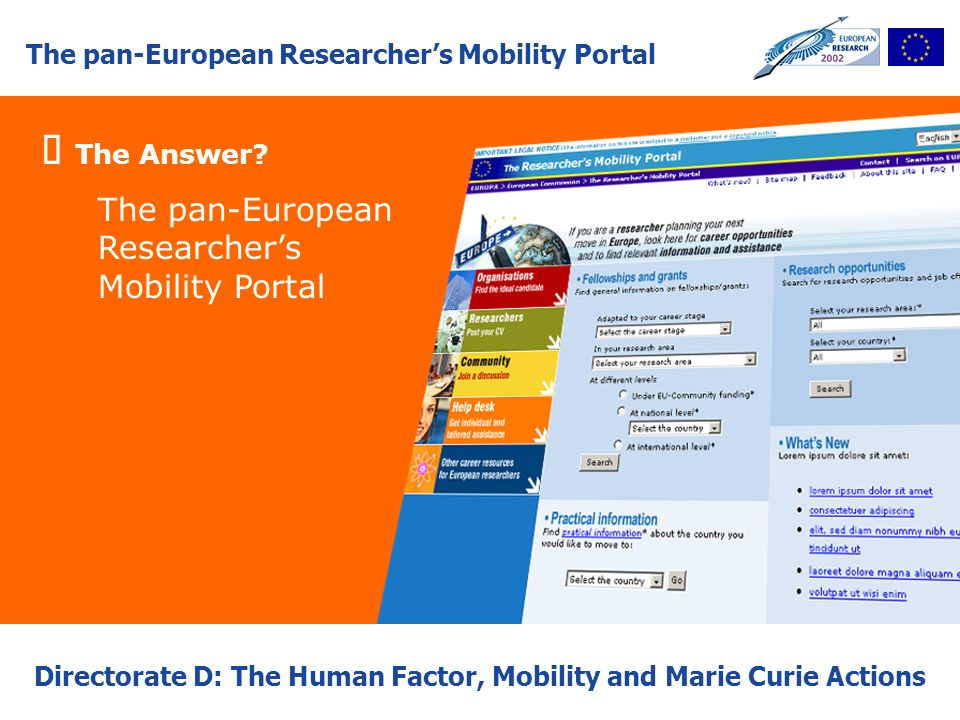 The pan-European Researchers Mobility Portal Directorate D: The Human Factor, Mobility and Marie Curie Actions The Answer? The pan-European Researcher