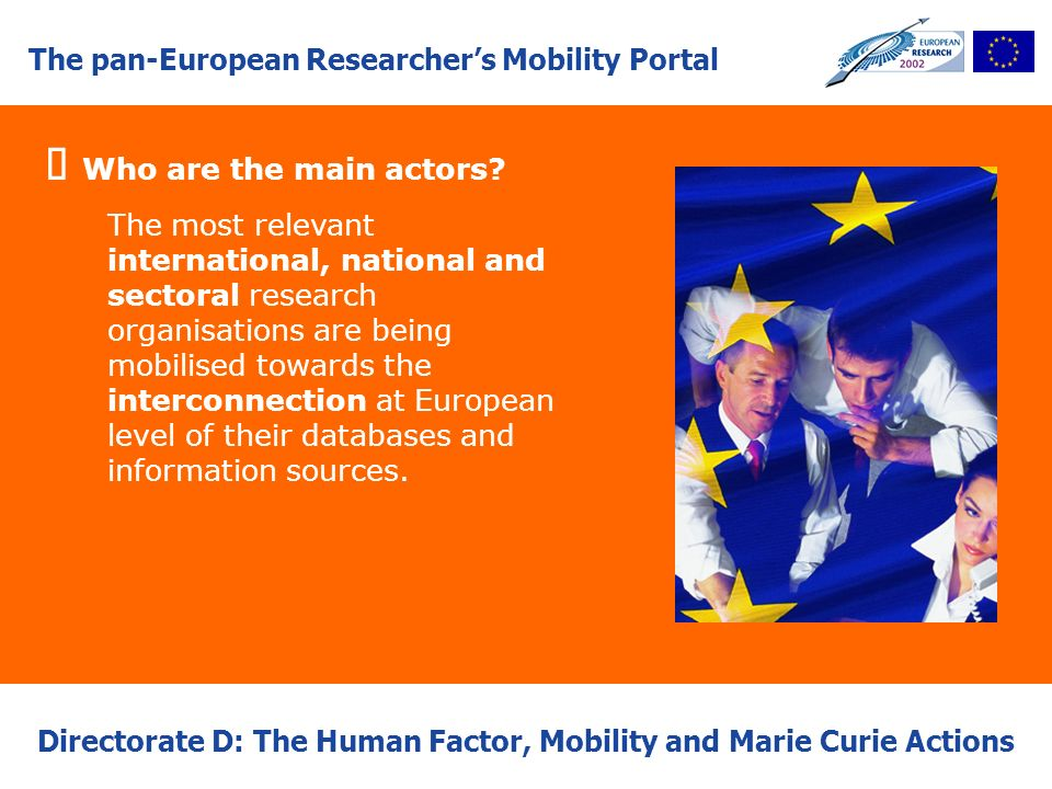 The pan-European Researchers Mobility Portal Directorate D: The Human Factor, Mobility and Marie Curie Actions Who are the main actors? The most relev