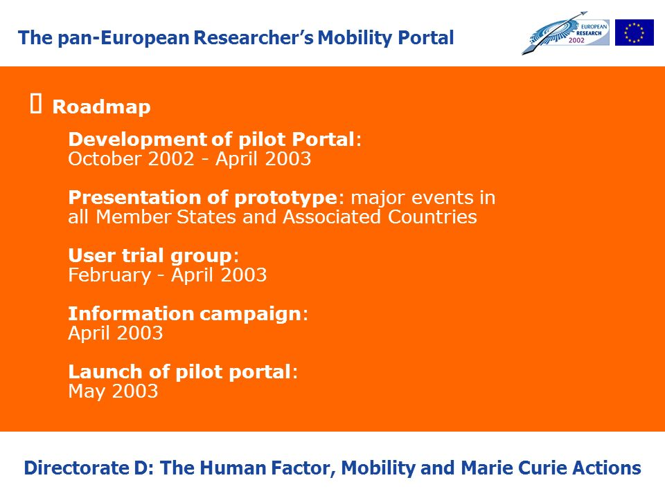 The pan-European Researchers Mobility Portal Directorate D: The Human Factor, Mobility and Marie Curie Actions Roadmap Development of pilot Portal: Oc