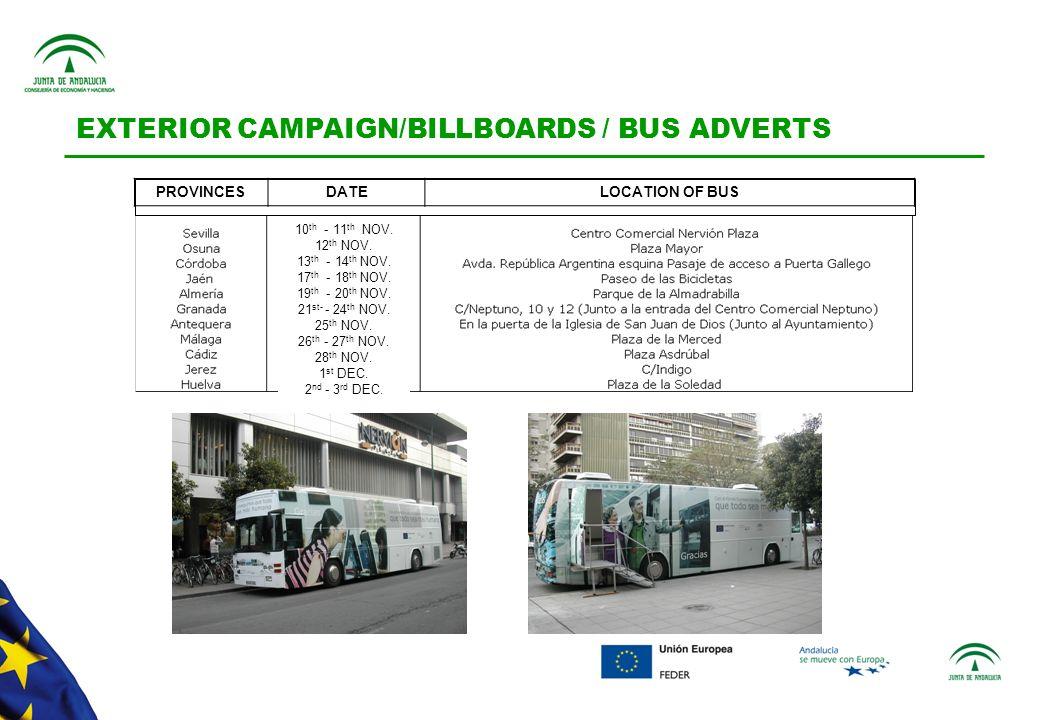 EXTERIOR CAMPAIGN/BILLBOARDS / BUS ADVERTS 10 th - 11 th NOV.