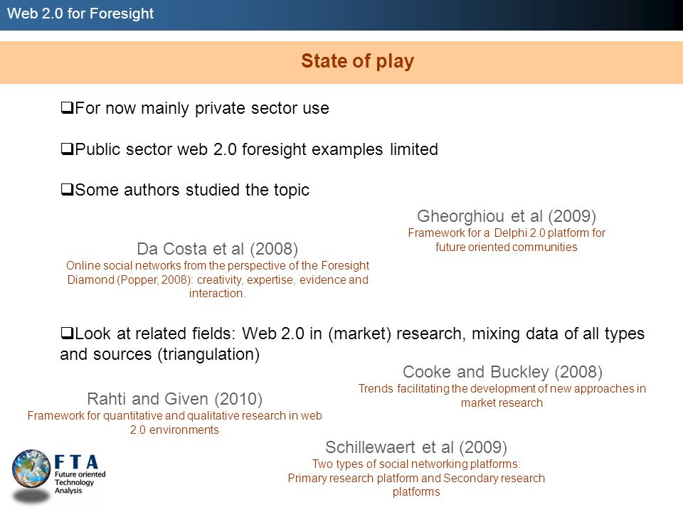 Web 2.0 for Foresight Figure 1: Connected research (Schillewaert et al, 2009).