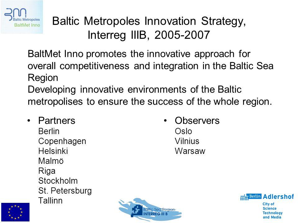 Baltic Metropoles Innovation Strategy, Interreg IIIB, 2005-2007 Partners Berlin Copenhagen Helsinki Malmö Riga Stockholm St.
