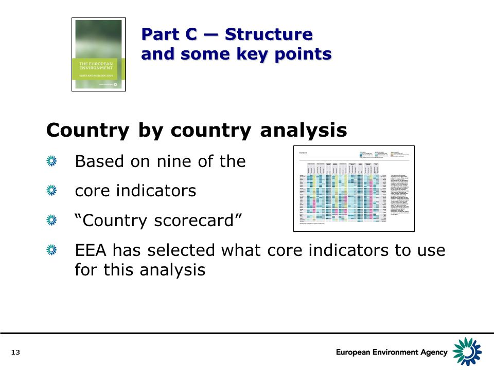 13 Part C Structure and some key points Country by country analysis Based on nine of the core indicators Country scorecard EEA has selected what core indicators to use for this analysis