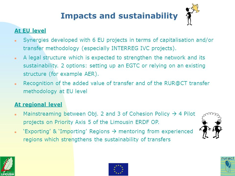 Impacts and sustainability At EU level n Synergies developed with 6 EU projects in terms of capitalisation and/or transfer methodology (especially INTERREG IVC projects).