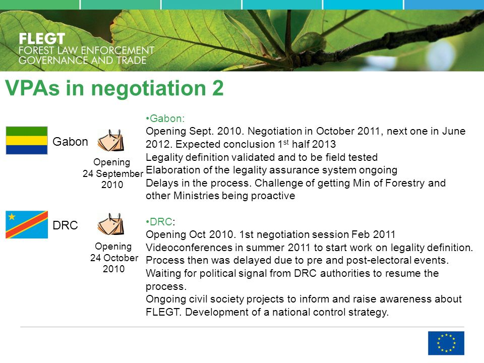 VPAs in negotiation 2 Gabon DRC Opening 24 September 2010 Opening 24 October 2010 Gabon: Opening Sept. 2010. Negotiation in October 2011, next one in