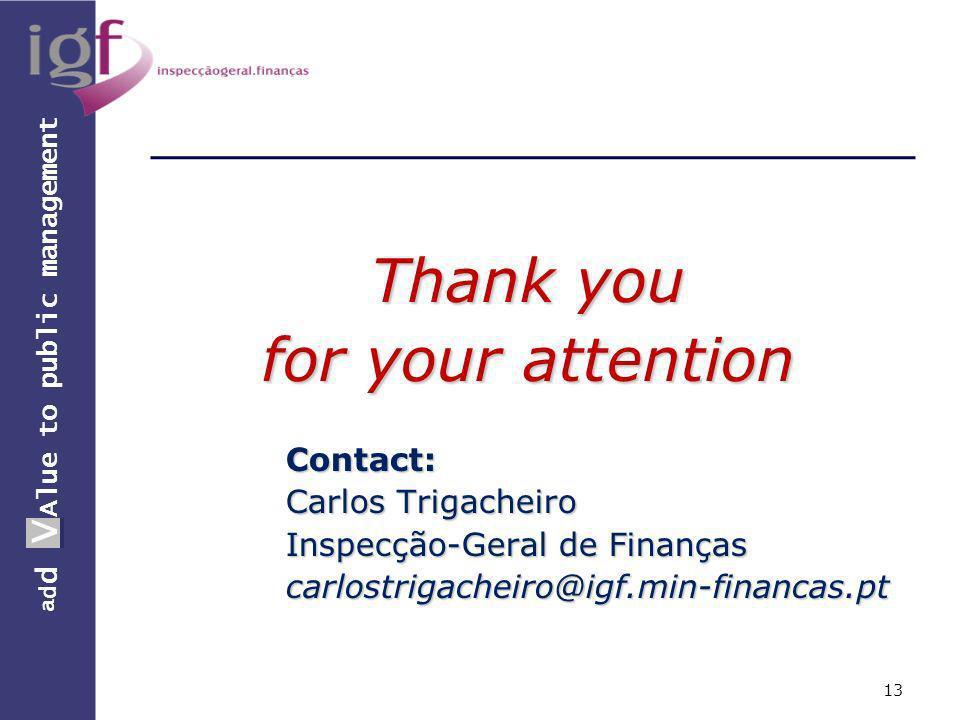a d d V Alue to public management a d d V Thank you for your attention Contact: Carlos Trigacheiro Inspecção-Geral de Finanças carlostrigacheiro@igf.min-financas.pt 13