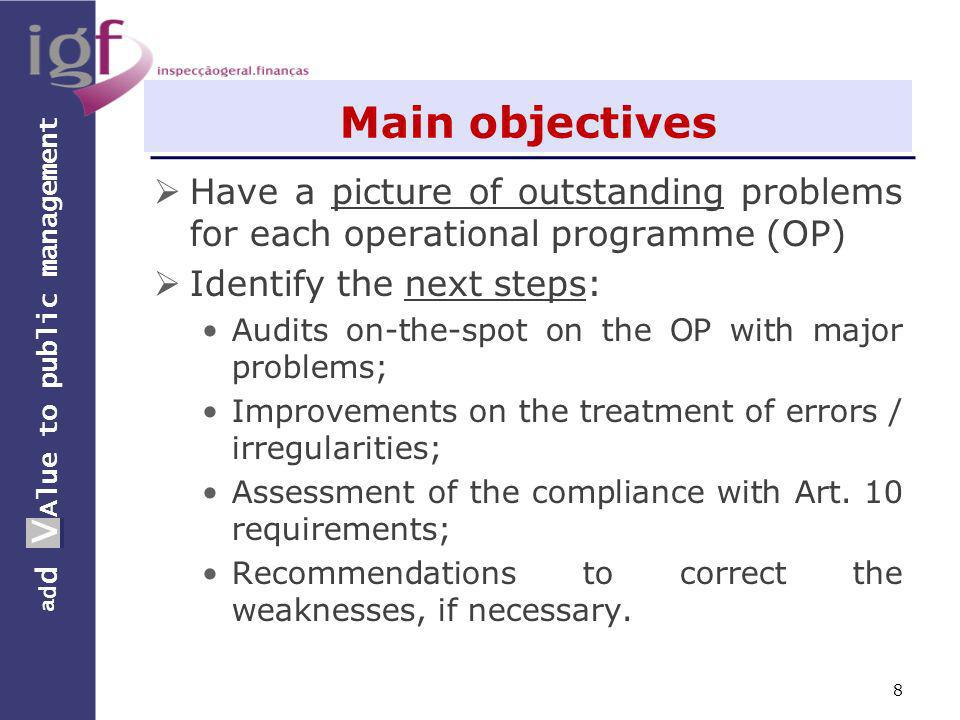 a d d V Alue to public management a d d V Main objectives Have a picture of outstanding problems for each operational programme (OP) Identify the next steps: Audits on-the-spot on the OP with major problems; Improvements on the treatment of errors / irregularities; Assessment of the compliance with Art.