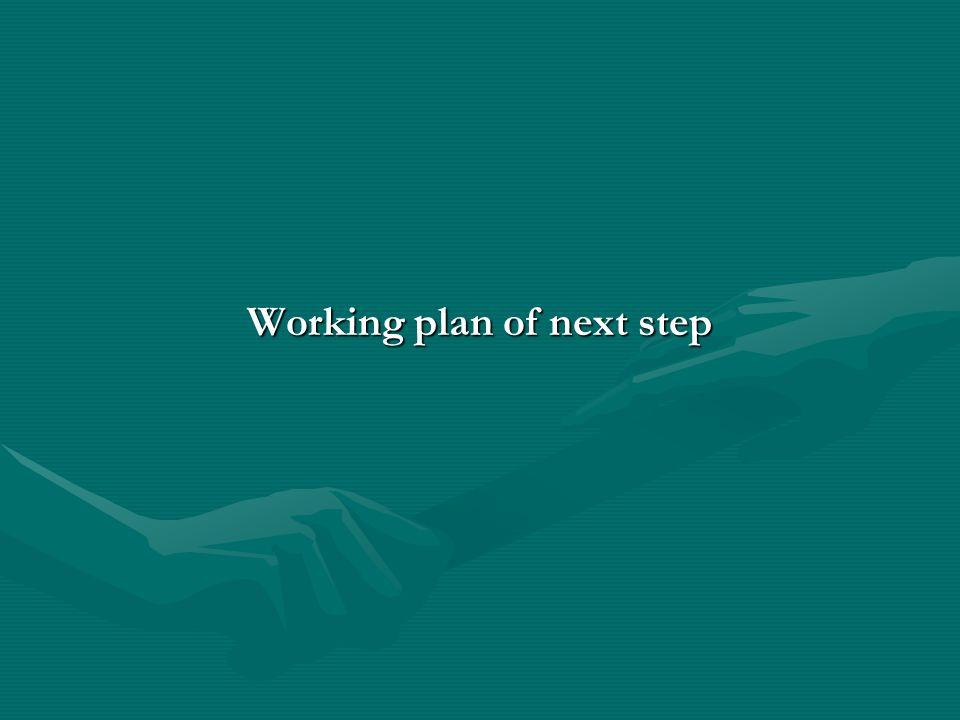 Working plan of next step
