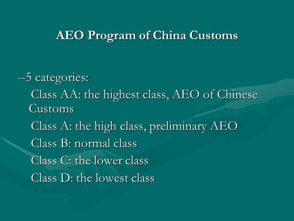 AEO Program of China Customs --5 categories: Class AA: the highest class, AEO of Chinese Customs Class AA: the highest class, AEO of Chinese Customs C