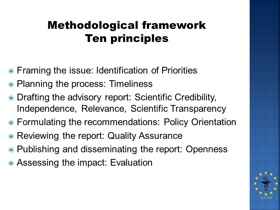 Methodological framework Ten principles Framing the issue: Identification of Priorities Planning the process: Timeliness Drafting the advisory report:
