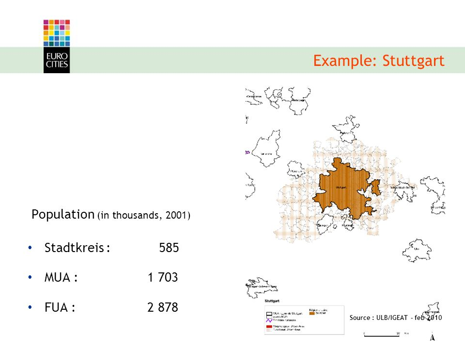 Population (in thousands, 2001) Stadtkreis : 585 MUA : FUA : Example: Stuttgart Source : ULB/IGEAT – feb 2010