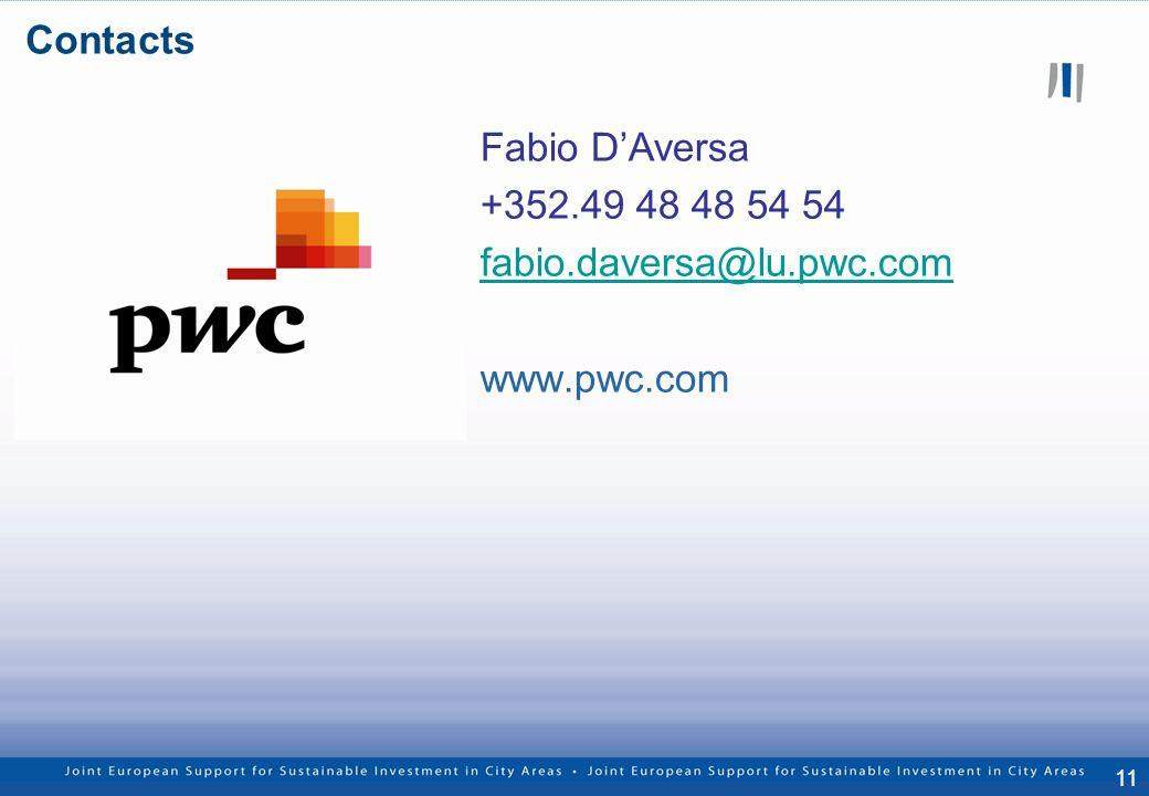 11 Fabio DAversa +352.49 48 48 54 54 fabio.daversa@lu.pwc.com www.pwc.com Contacts