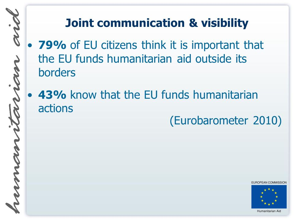 Joint communication & visibility 79% of EU citizens think it is important that the EU funds humanitarian aid outside its borders 43% know that the EU funds humanitarian actions (Eurobarometer 2010)