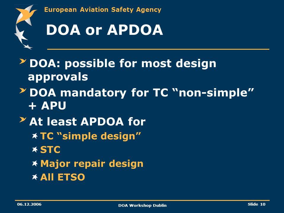 European Aviation Safety Agency 06.12.2006 DOA Workshop Dublin Slide 10 DOA or APDOA DOA: possible for most design approvals DOA mandatory for TC non-