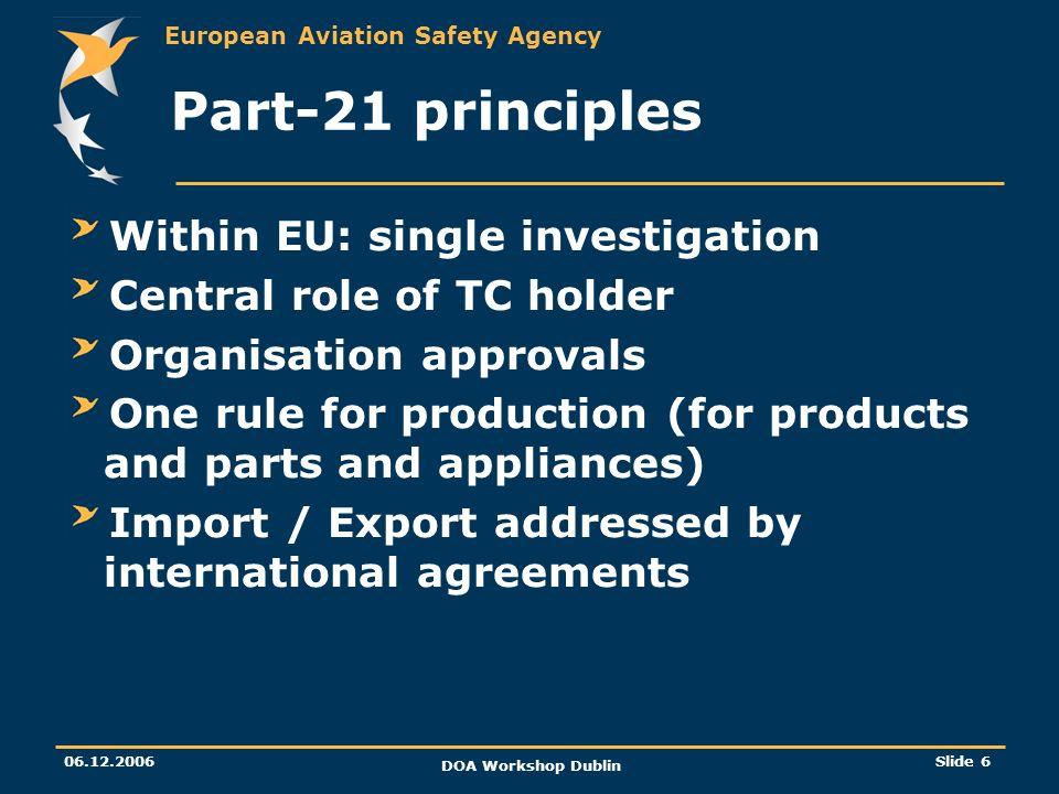 European Aviation Safety Agency 06.12.2006 DOA Workshop Dublin Slide 6 Part-21 principles Within EU: single investigation Central role of TC holder Or