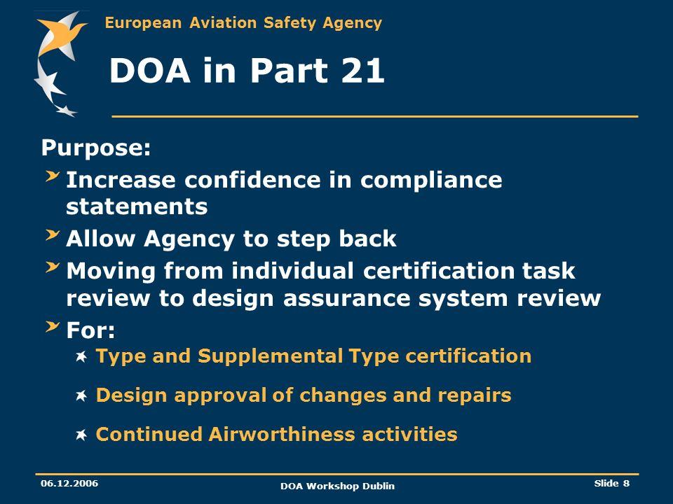 European Aviation Safety Agency 06.12.2006 DOA Workshop Dublin Slide 8 DOA in Part 21 Purpose: Increase confidence in compliance statements Allow Agen